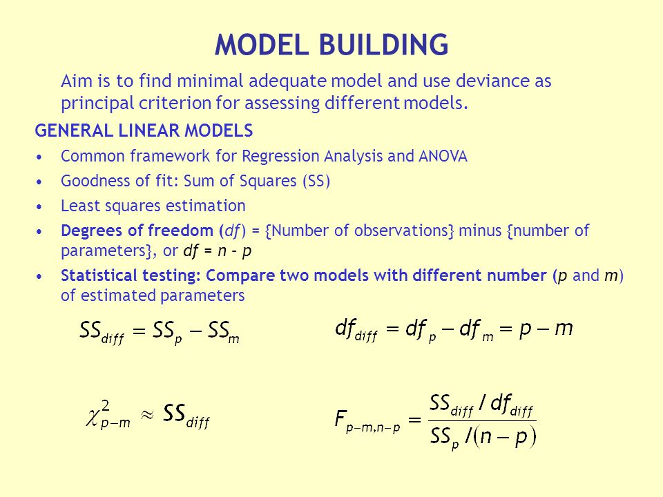 Aim is to find minimal adequate model and use deviance as principal criterion for assessing different models.