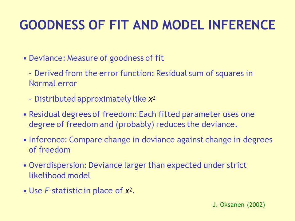 GOODNESS OF FIT AND MODEL INFERENCE J.