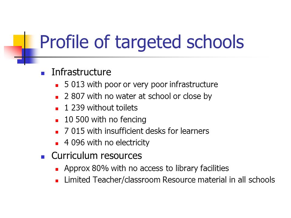 Profile of targeted schools Infrastructure with poor or very poor infrastructure with no water at school or close by without toilets with no fencing with insufficient desks for learners with no electricity Curriculum resources Approx 80% with no access to library facilities Limited Teacher/classroom Resource material in all schools