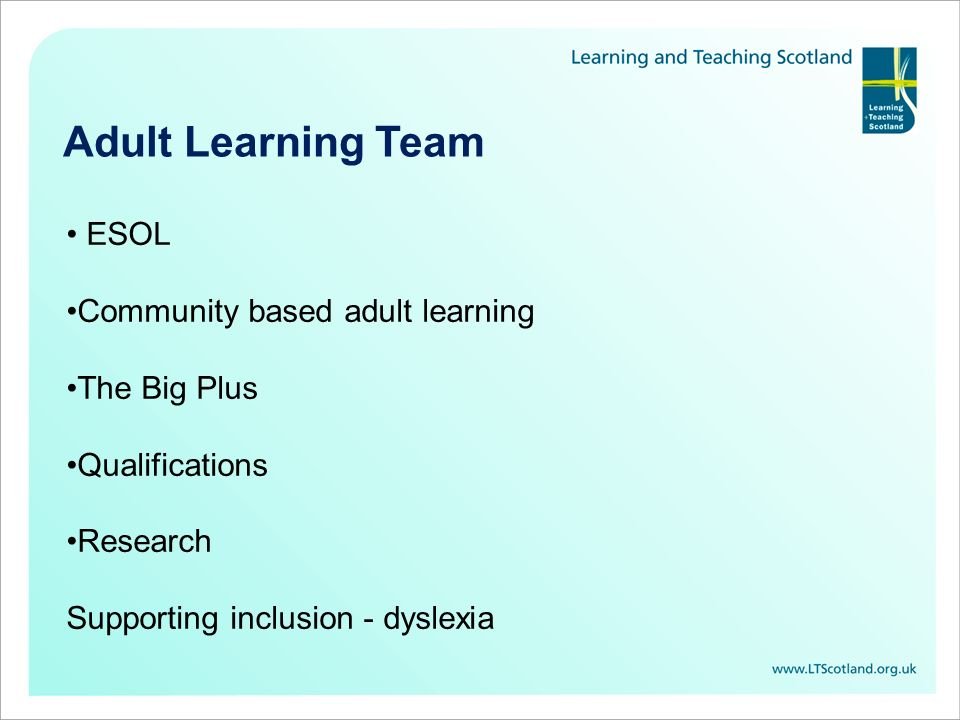 Adult Learning Team ESOL Community based adult learning The Big Plus Qualifications Research Supporting inclusion - dyslexia