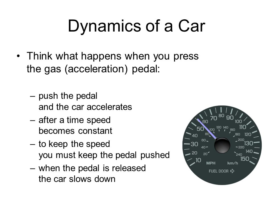 Dynamics of a Car Think what happens when you press the gas (acceleration) pedal: –push the pedal and the car accelerates –after a time speed becomes constant –to keep the speed you must keep the pedal pushed –when the pedal is released the car slows down