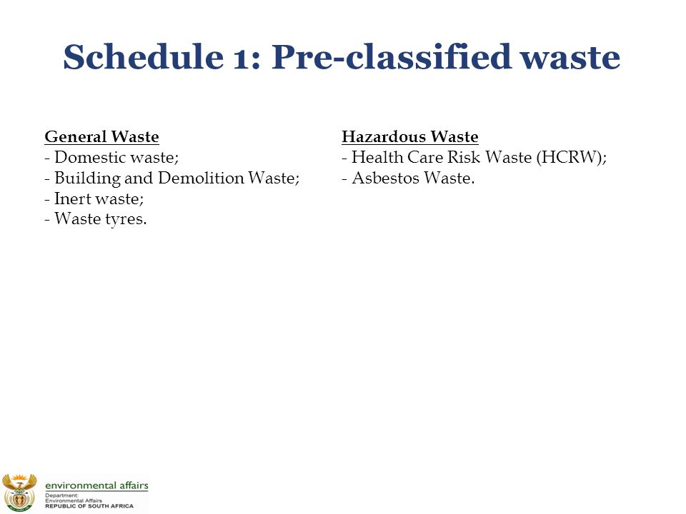 Schedule 1: Pre-classified waste General Waste - Domestic waste; - Building and Demolition Waste; - Inert waste; - Waste tyres.