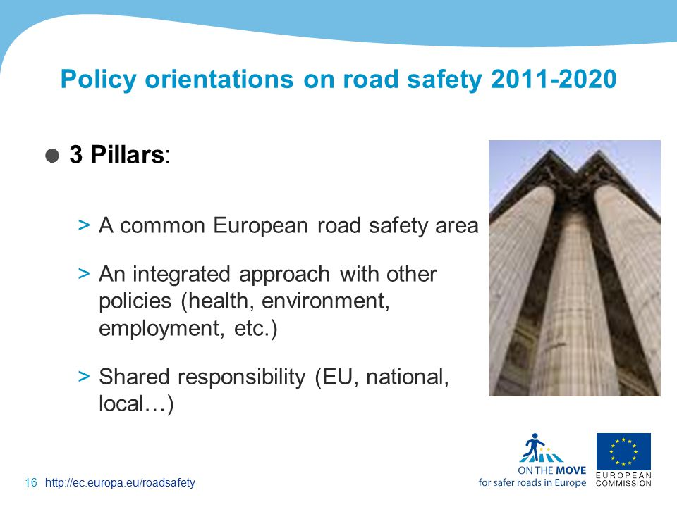 16http://ec.europa.eu/roadsafety Policy orientations on road safety  3 Pillars: >A common European road safety area >An integrated approach with other policies (health, environment, employment, etc.) >Shared responsibility (EU, national, local…)