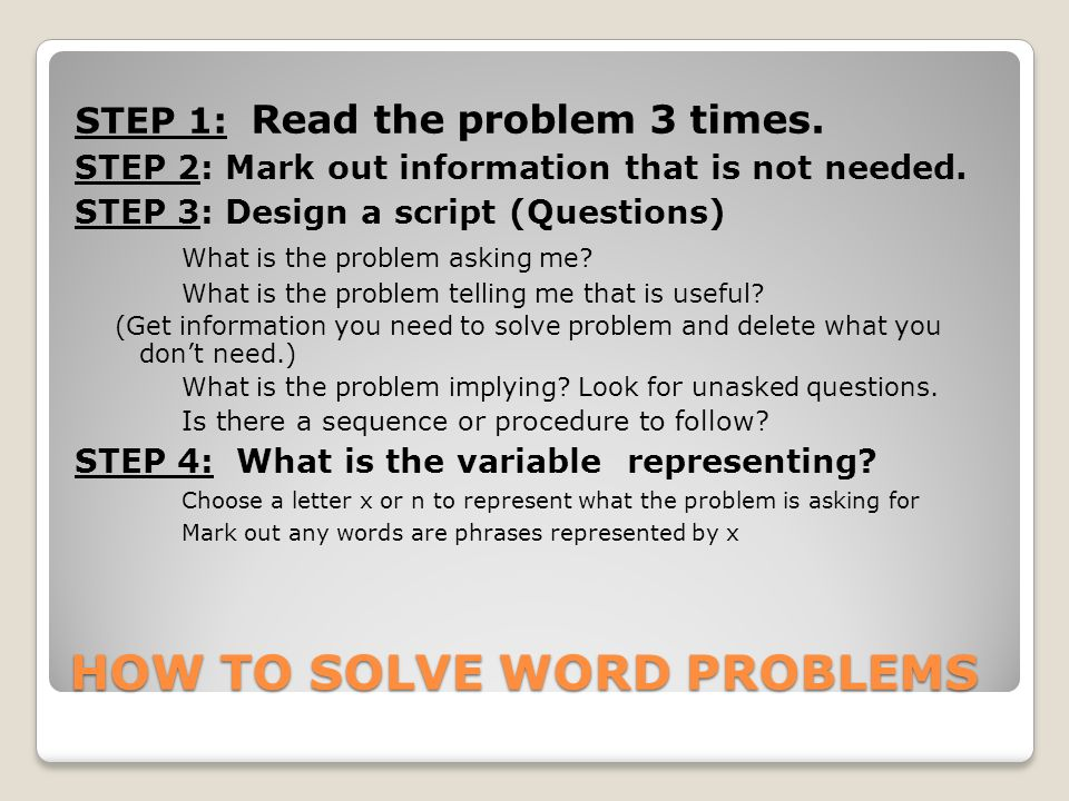 Solve A Word Problem For Me