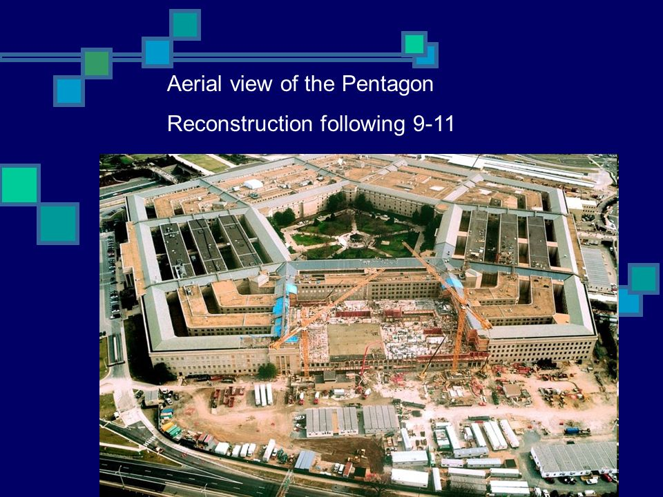 Aerial view of the Pentagon Reconstruction following 9-11