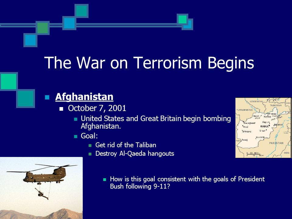 The War on Terrorism Begins Afghanistan October 7, 2001 United States and Great Britain begin bombing Afghanistan.