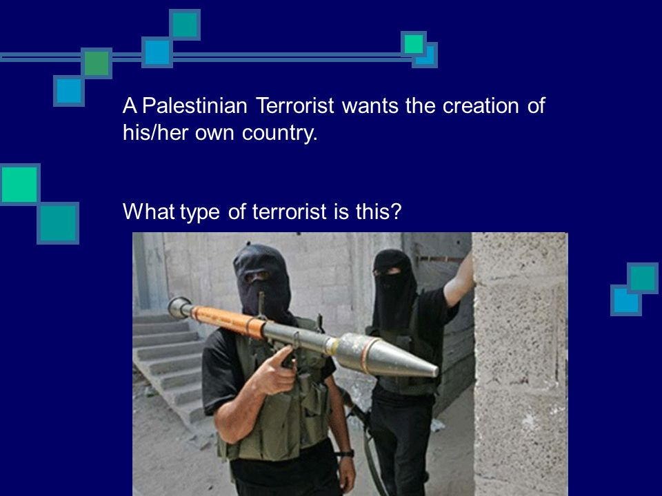 A Palestinian Terrorist wants the creation of his/her own country. What type of terrorist is this