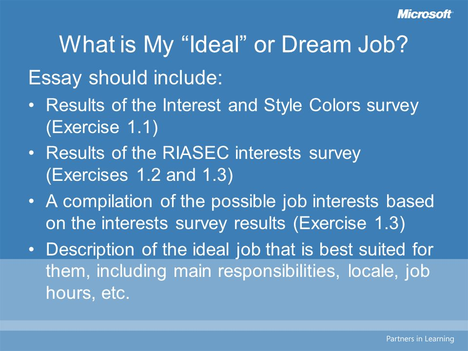 creating a career portfolio module assessing career interests  what is my ideal or dream job