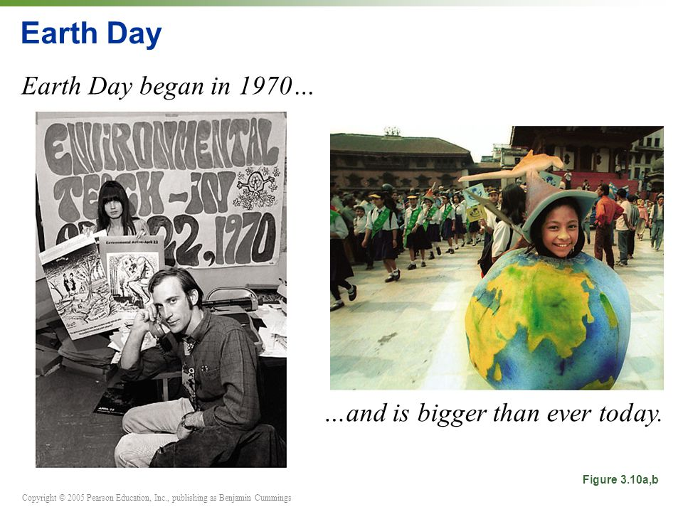 Copyright © 2005 Pearson Education, Inc., publishing as Benjamin Cummings Earth Day Earth Day began in 1970… Figure 3.10a,b …and is bigger than ever today.