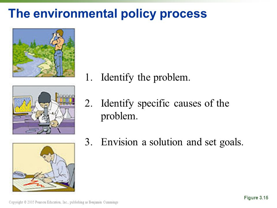 Copyright © 2005 Pearson Education, Inc., publishing as Benjamin Cummings The environmental policy process 1.Identify the problem.