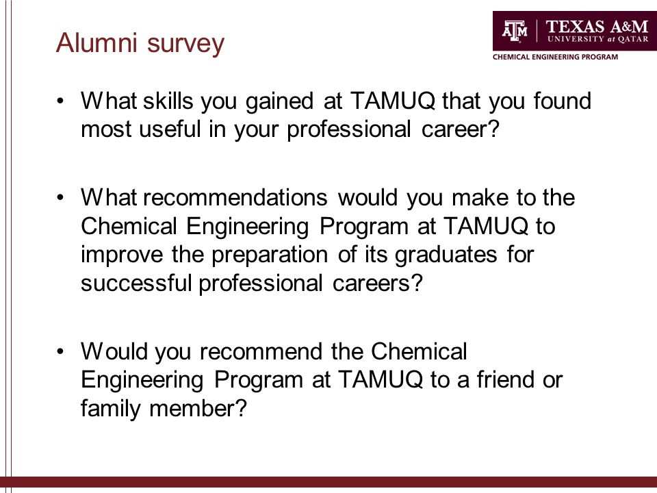 Alumni survey What skills you gained at TAMUQ that you found most useful in your professional career.