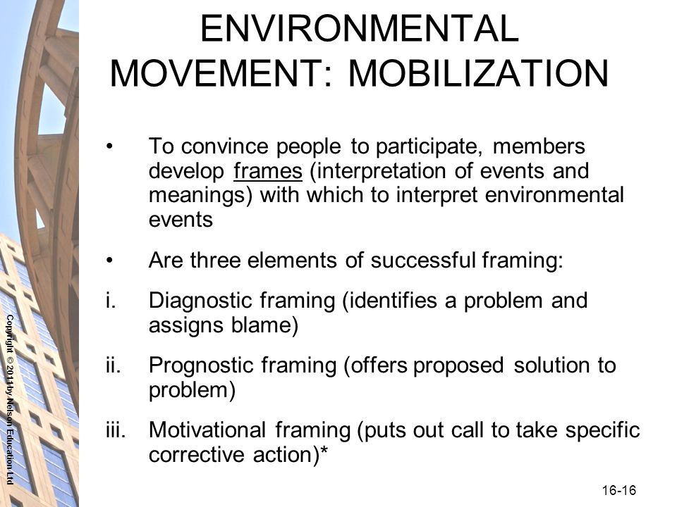 Copyright © 2011 by Nelson Education Ltd ENVIRONMENTAL MOVEMENT: MOBILIZATION To convince people to participate, members develop frames (interpretation of events and meanings) with which to interpret environmental events Are three elements of successful framing: i.Diagnostic framing (identifies a problem and assigns blame) ii.Prognostic framing (offers proposed solution to problem) iii.Motivational framing (puts out call to take specific corrective action)*