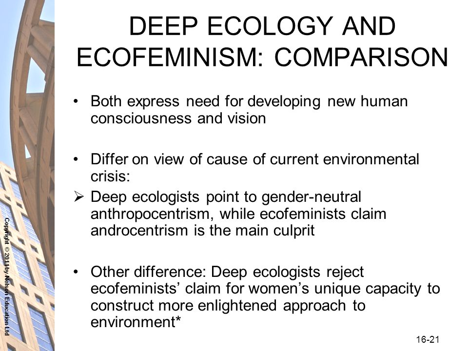 Copyright © 2011 by Nelson Education Ltd DEEP ECOLOGY AND ECOFEMINISM: COMPARISON Both express need for developing new human consciousness and vision Differ on view of cause of current environmental crisis:  Deep ecologists point to gender-neutral anthropocentrism, while ecofeminists claim androcentrism is the main culprit Other difference: Deep ecologists reject ecofeminists' claim for women's unique capacity to construct more enlightened approach to environment*