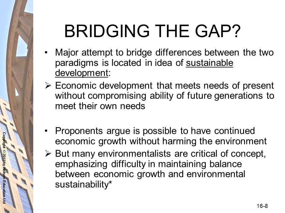 Copyright © 2011 by Nelson Education Ltd 16-8 BRIDGING THE GAP.