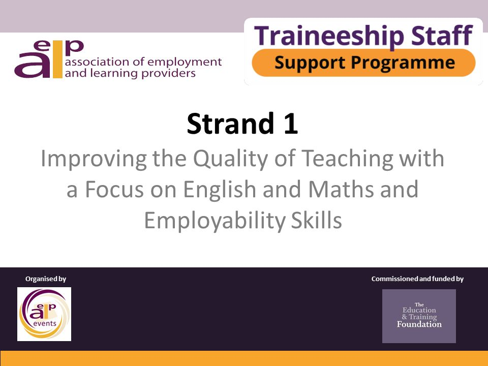 Strand 1 Improving the Quality of Teaching with a Focus on English and Maths and Employability Skills Commissioned and funded byOrganised by