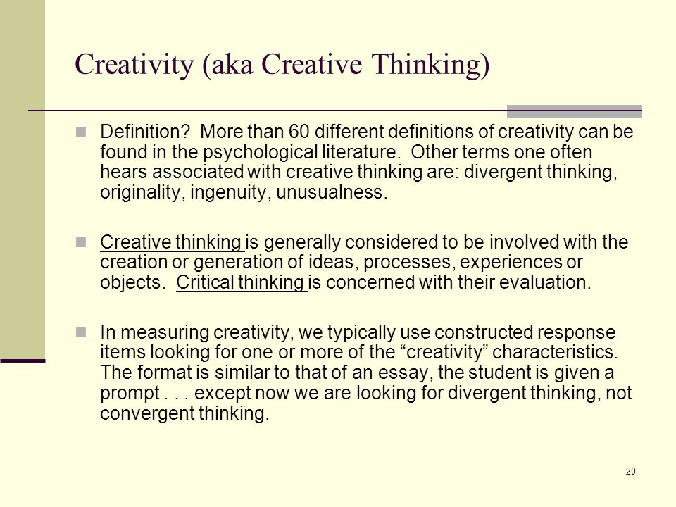 Creative thinking meaning