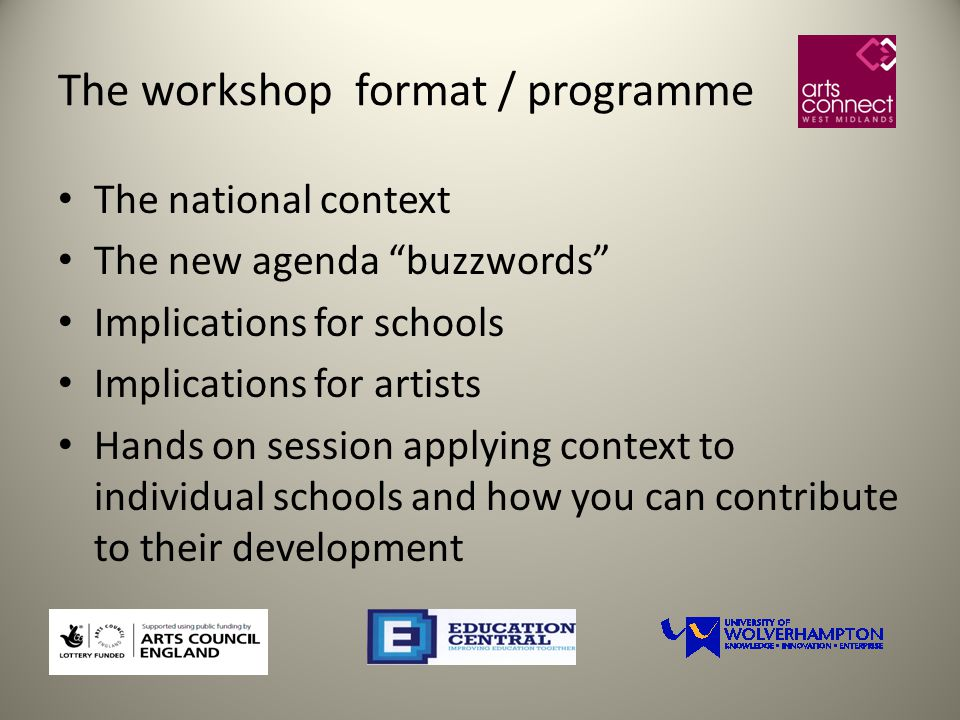 The workshop format / programme The national context The new agenda buzzwords Implications for schools Implications for artists Hands on session applying context to individual schools and how you can contribute to their development