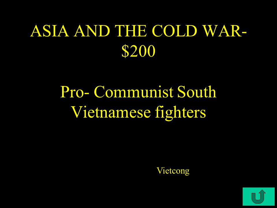C4-$100 ASIA AND THE COLD WAR - $100 This is the term used to describe Nixon's plan to remove U.S.