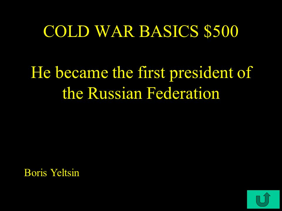 C4-$300 COLD WAR BASICS $400 US President during the Cuban Missile Crisis John F. Kennedy