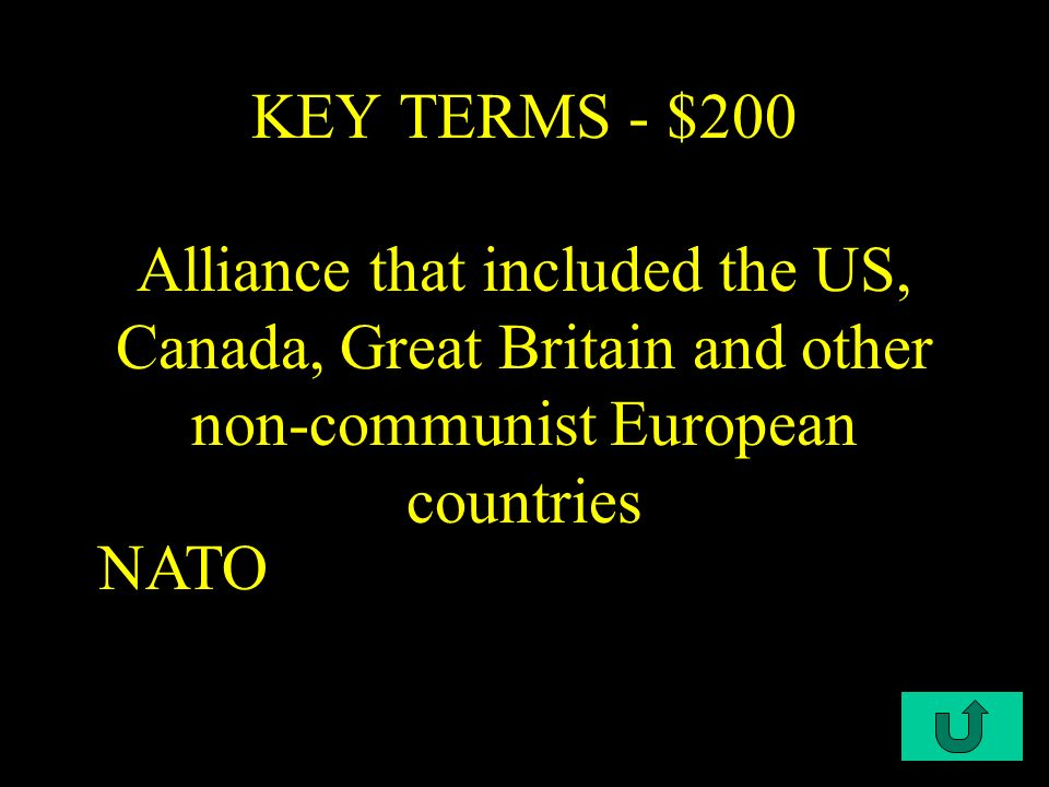 C1-$100 KEY TERMS-100 US policy of trying to stop the spread communism and support the countries that rejected it.