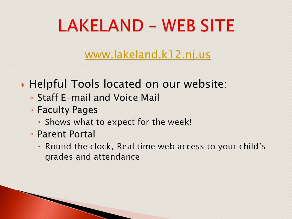  Helpful Tools located on our website: ◦ Staff  and Voice Mail ◦ Faculty Pages  Shows what to expect for the week.