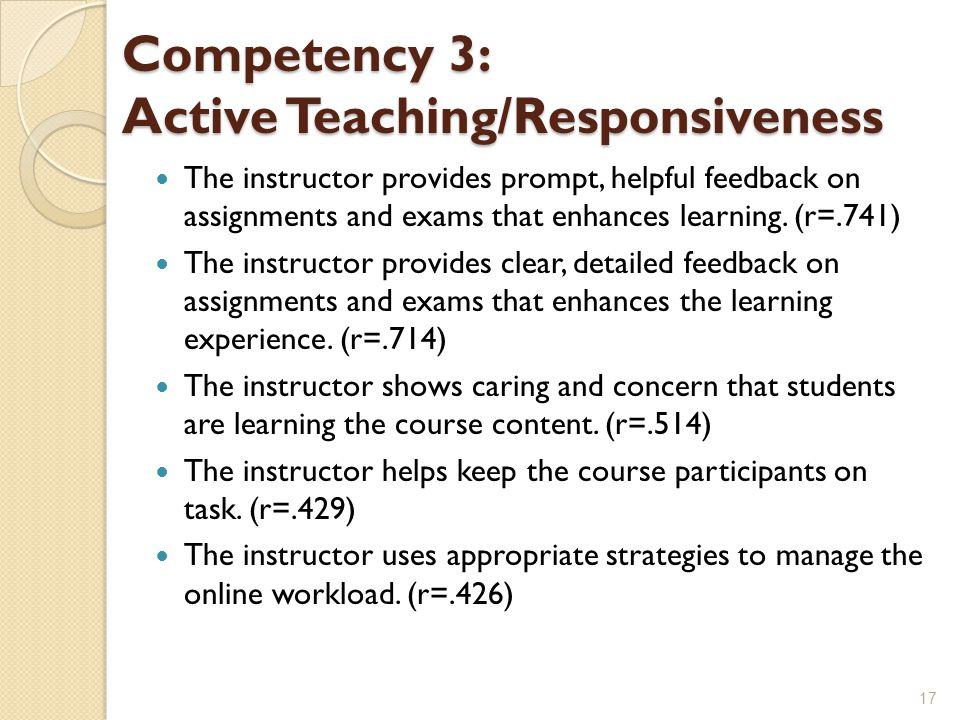 Competency 3: Active Teaching/Responsiveness The instructor provides prompt, helpful feedback on assignments and exams that enhances learning.