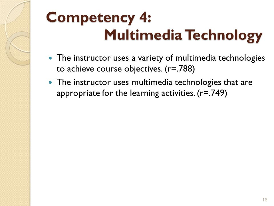 Competency 4: Multimedia Technology The instructor uses a variety of multimedia technologies to achieve course objectives.