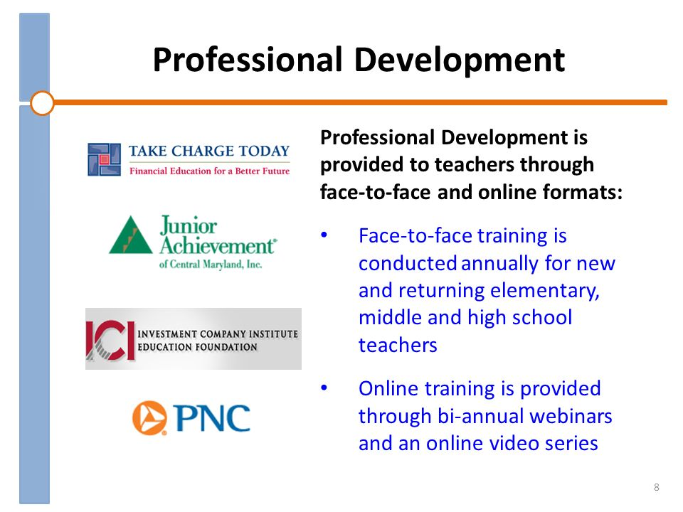 Professional Development 8 Professional Development is provided to teachers through face-to-face and online formats: Face-to-face training is conducted annually for new and returning elementary, middle and high school teachers Online training is provided through bi-annual webinars and an online video series