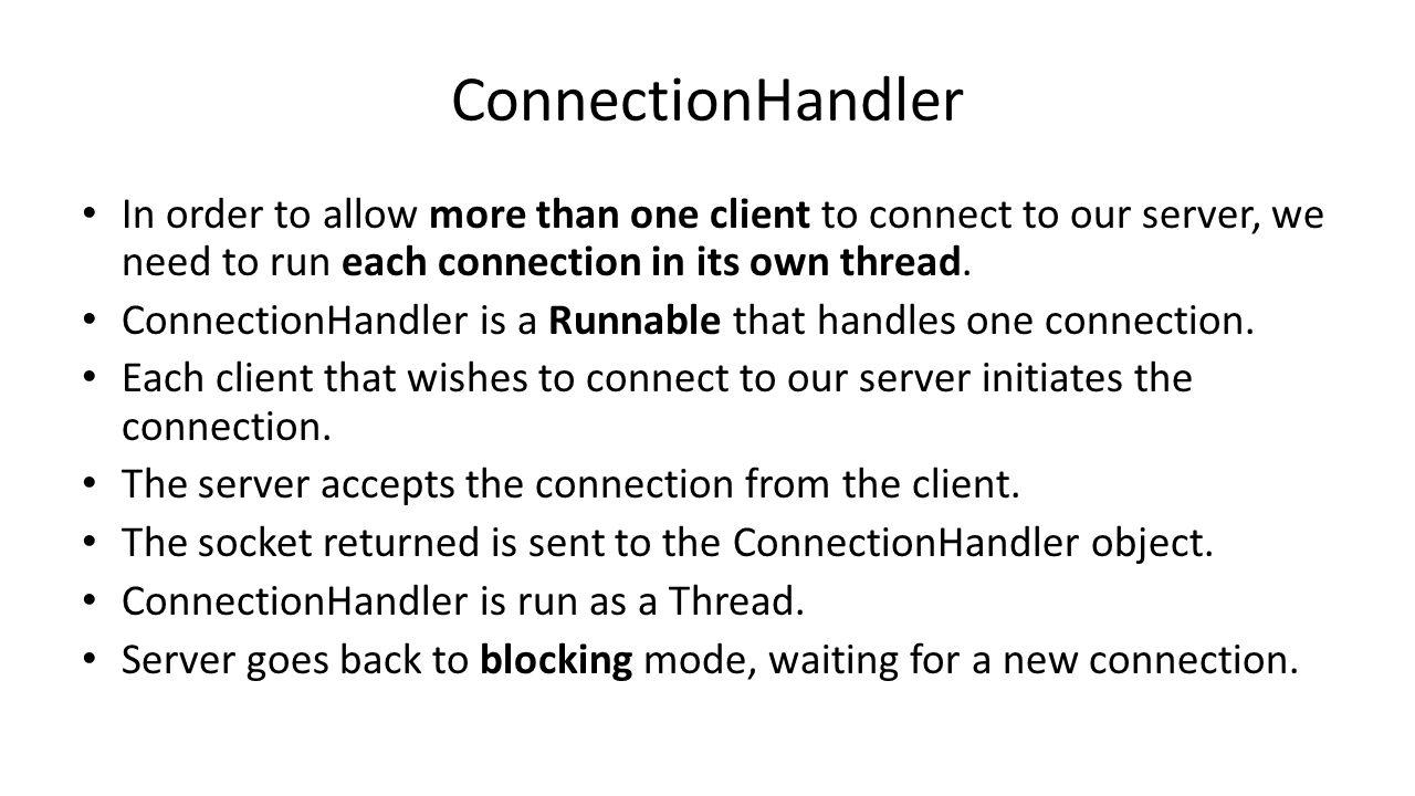 Practical session 11 multi client server java nio ppt download 4 connectionhandler baditri Images