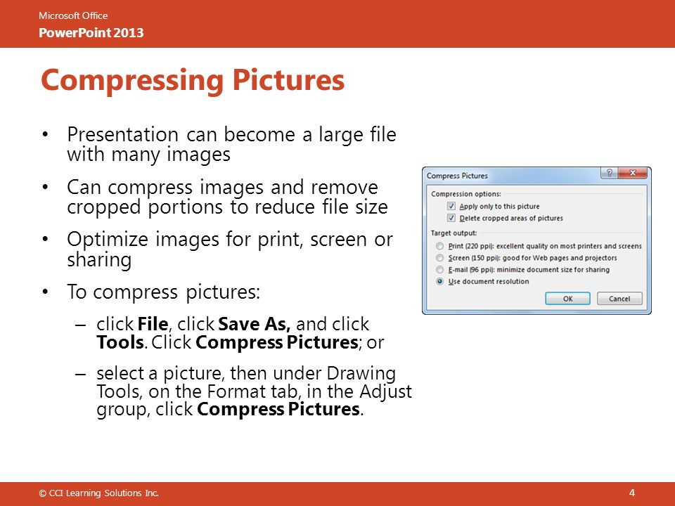 Microsoft office powerpoint 2013 microsoft office powerpoint 2013 microsoft office powerpoint 2013 compressing pictures presentation can become a large file with many images can toneelgroepblik Gallery