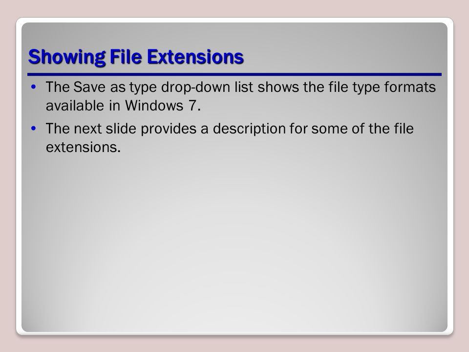 The Save as type drop-down list shows the file type formats available in Windows 7.