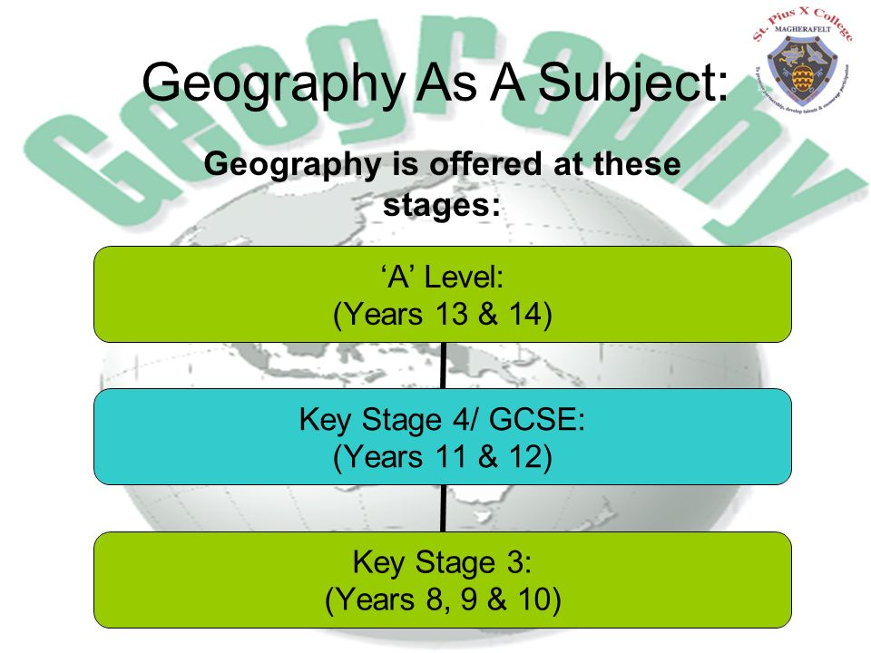 Geography As A Subject: 'A' Level: (Years 13 & 14) Key Stage 4/ GCSE: (Years 11 & 12) Key Stage 3: (Years 8, 9 & 10) Geography is offered at these stages:
