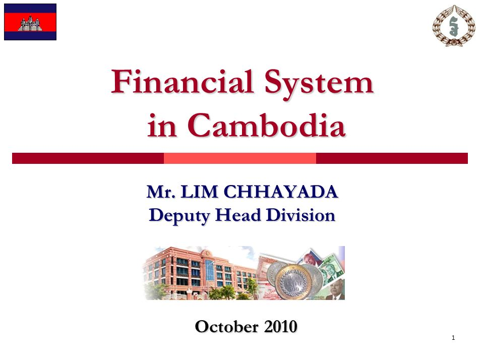 1 Financial System in Cambodia Mr. LIM CHHAYADA Deputy Head Division October 2010