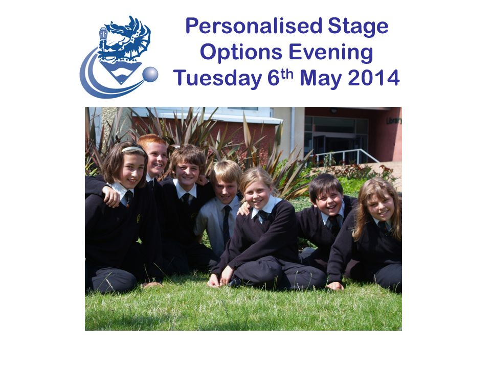 Personalised Stage Options Evening Tuesday 6 th May 2014 OPTIONS Your Future