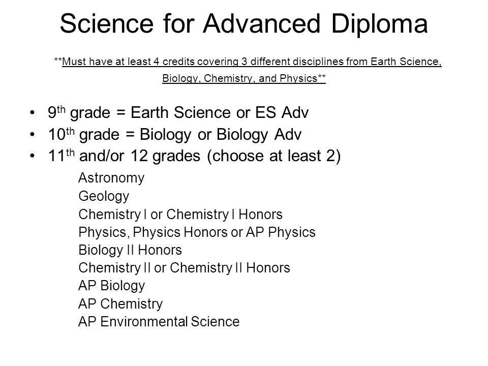 Science for Advanced Diploma **Must have at least 4 credits covering 3 different disciplines from Earth Science, Biology, Chemistry, and Physics** 9 th grade = Earth Science or ES Adv 10 th grade = Biology or Biology Adv 11 th and/or 12 grades (choose at least 2) Astronomy Geology Chemistry I or Chemistry I Honors Physics, Physics Honors or AP Physics Biology II Honors Chemistry II or Chemistry II Honors AP Biology AP Chemistry AP Environmental Science