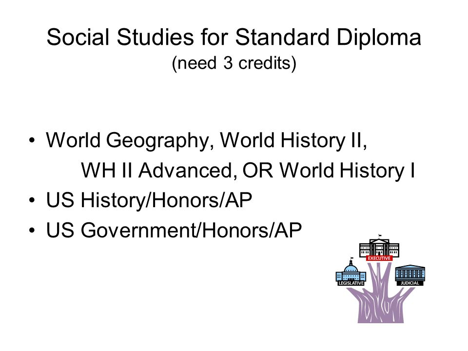Social Studies for Standard Diploma (need 3 credits) World Geography, World History II, WH II Advanced, OR World History I US History/Honors/AP US Government/Honors/AP