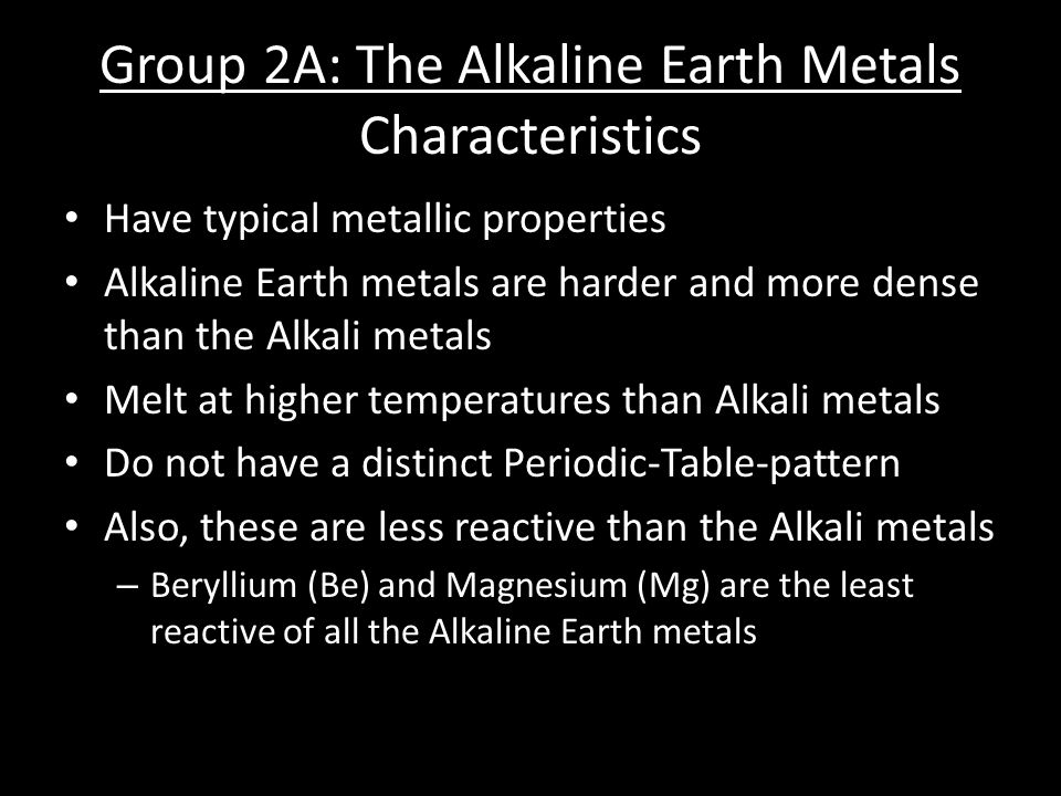 9 group 2a the alkaline earth metals characteristics - Characteristics Of Alkaline Earth Metals In The Periodic Table