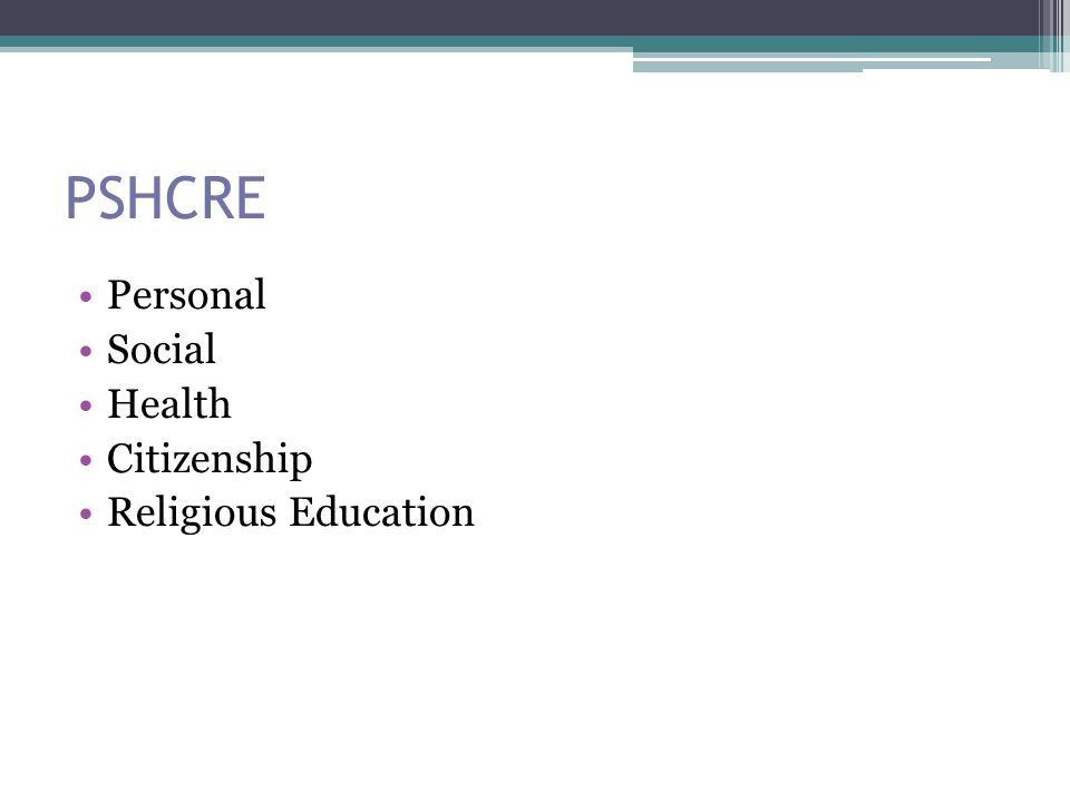 PSHCRE Personal Social Health Citizenship Religious Education