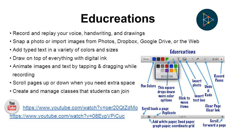 Educreations Record and replay your voice, handwriting, and drawings Snap a photo or import images from Photos, Dropbox, Google Drive, or the Web Add typed text in a variety of colors and sizes Draw on top of everything with digital ink Animate images and text by tapping & dragging while recording Scroll pages up or down when you need extra space Create and manage classes that students can join   v=oer20QtZdMo   v=08EypVPiCuc