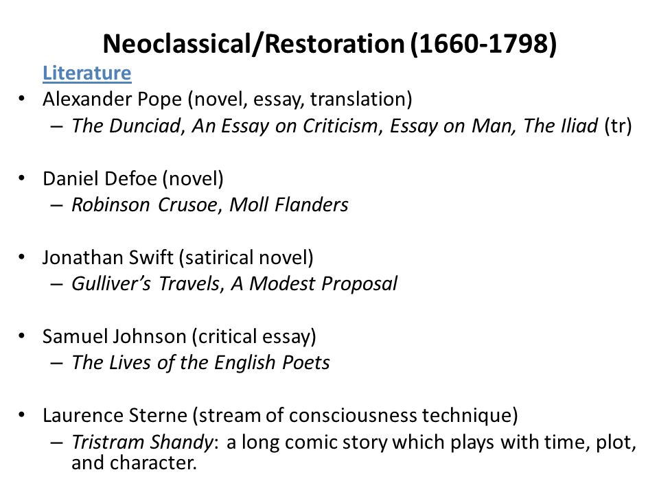 eti introduction to contemporary western literature overview  20 neoclassical restoration