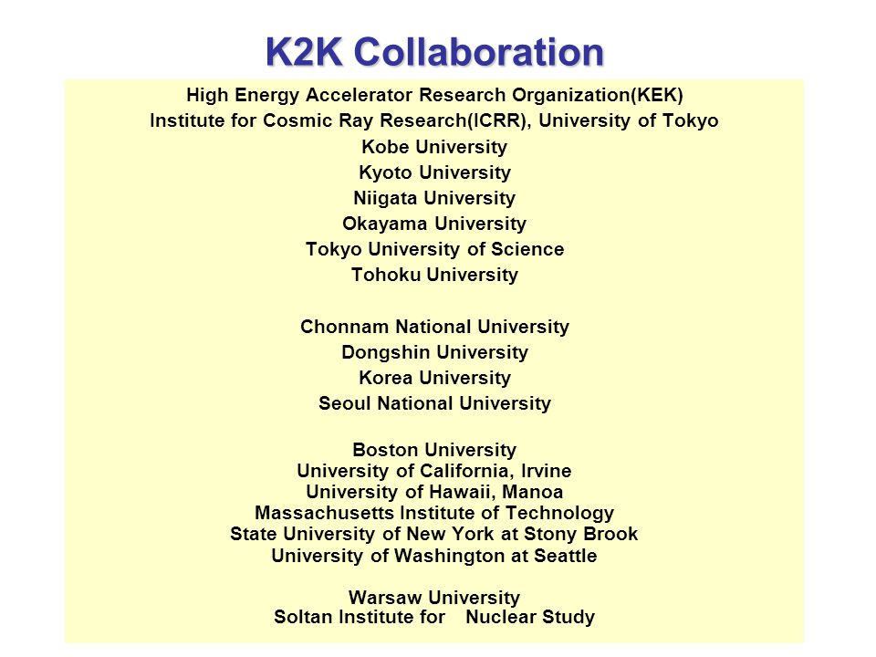 K2K Collaboration High Energy Accelerator Research Organization(KEK) Institute for Cosmic Ray Research(ICRR), University of Tokyo Kobe University Kyoto University Niigata University Okayama University Tokyo University of Science Tohoku University Chonnam National University Dongshin University Korea University Seoul National University Boston University University of California, Irvine University of Hawaii, Manoa Massachusetts Institute of Technology State University of New York at Stony Brook University of Washington at Seattle Warsaw University Soltan Institute for Nuclear Study