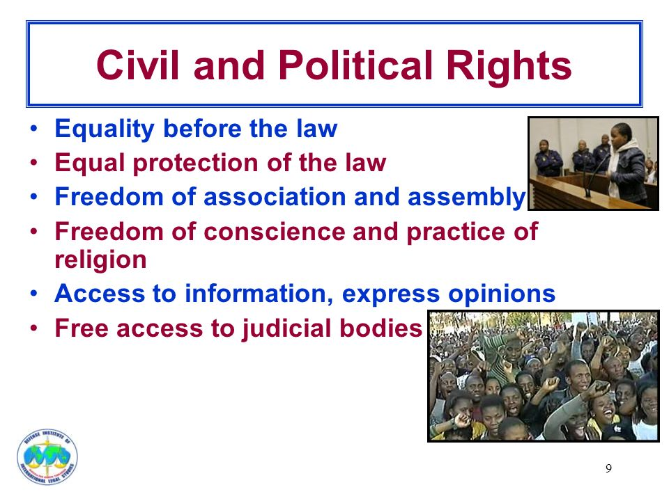 9 Civil and Political Rights Equality before the law Equal protection of the law Freedom of association and assembly Freedom of conscience and practice of religion Access to information, express opinions Free access to judicial bodies