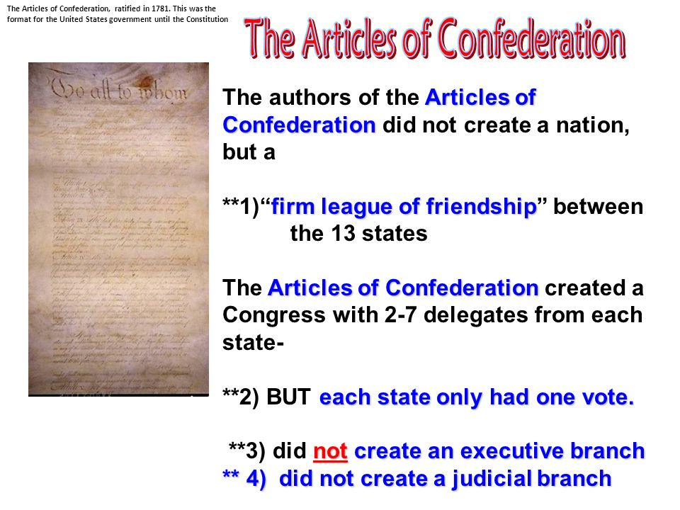 the articles of the confederation and the constitution The articles of confederation more of a treaty—or a firm league of friendship—than a constitution, the articles of confederation in no way infringed upon.