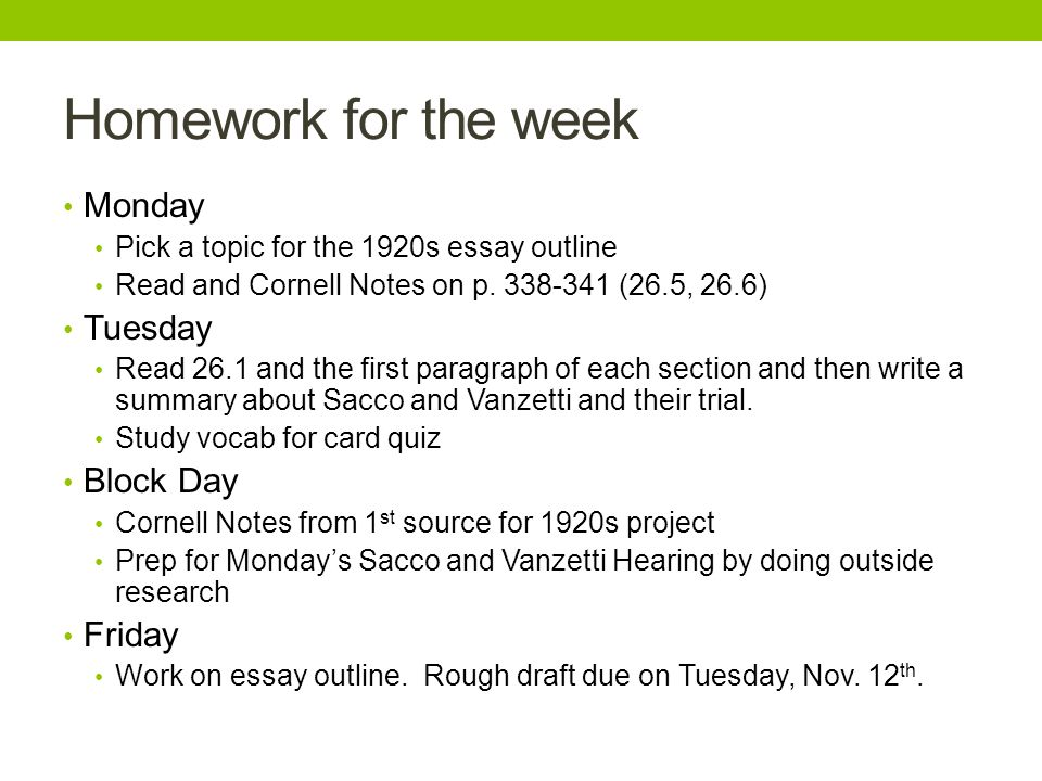 us history unit week homework for the week monday pick a  homework for the week monday pick a topic for the 1920s essay outline and cornell