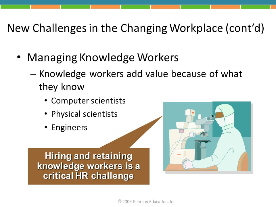 New Challenges in the Changing Workplace (cont'd) Managing Knowledge Workers – Knowledge workers add value because of what they know Computer scientists Physical scientists Engineers Hiring and retaining knowledge workers is a critical HR challenge © 2009 Pearson Education, Inc.