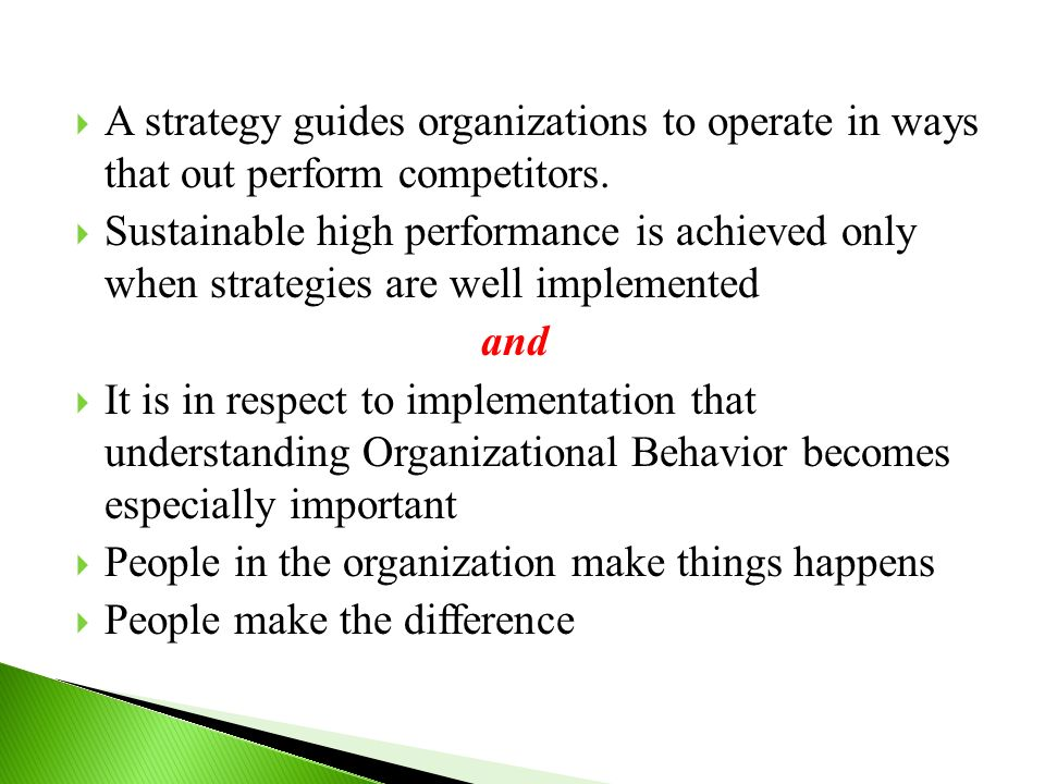  A strategy guides organizations to operate in ways that out perform competitors.  Sustainable high performance is achieved only when strategies are