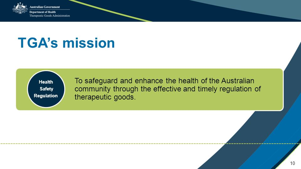 TGA's mission To safeguard and enhance the health of the Australian community through the effective and timely regulation of therapeutic goods.