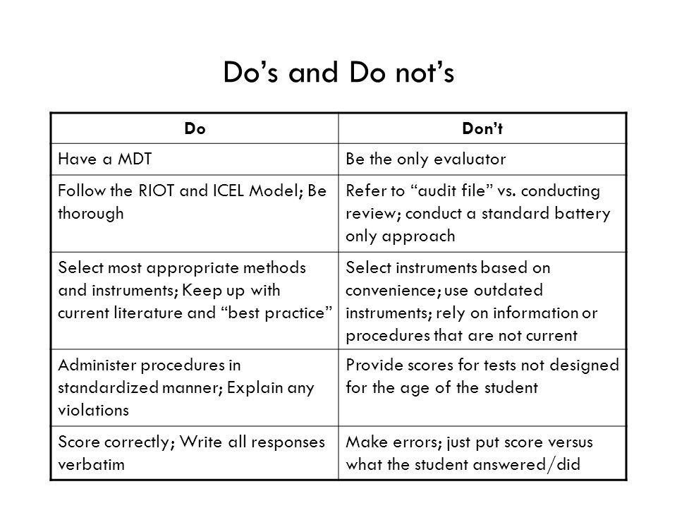 Do's and Do not's DoDon't Have a MDTBe the only evaluator Follow the RIOT and ICEL Model; Be thorough Refer to audit file vs.
