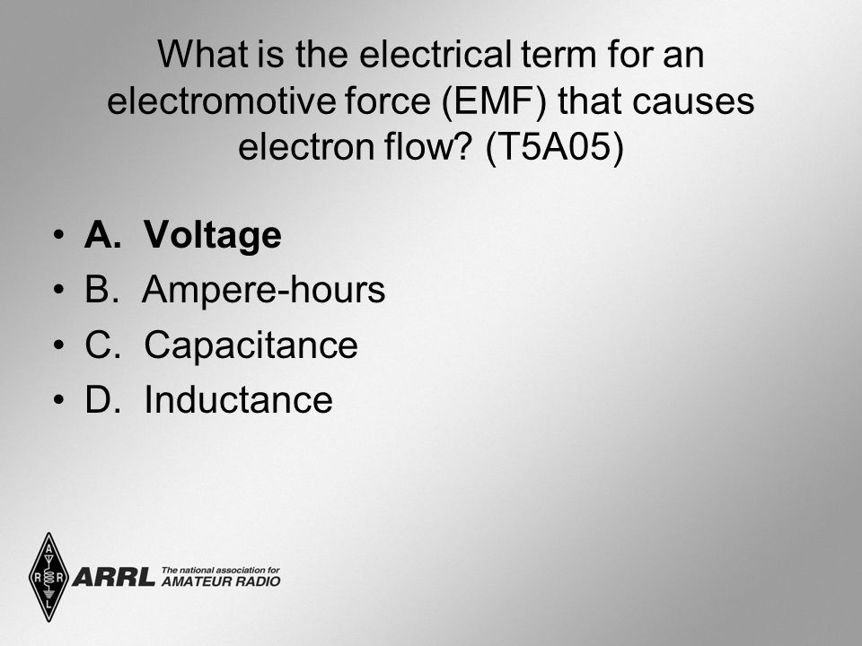What is the electrical term for an electromotive force (EMF) that causes electron flow.