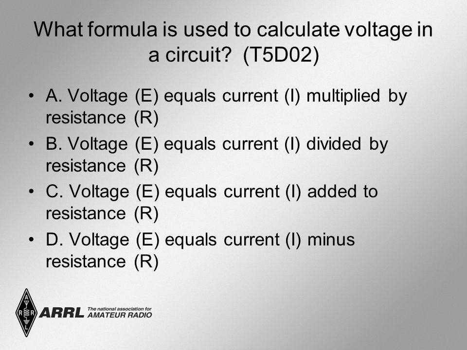 What formula is used to calculate voltage in a circuit.